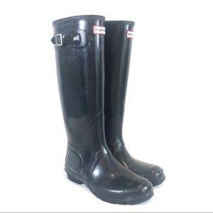 Hunter Tall Gloss Rainboots in Black 8